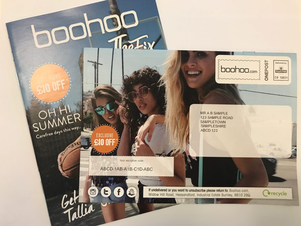 Boohoo print direct mail